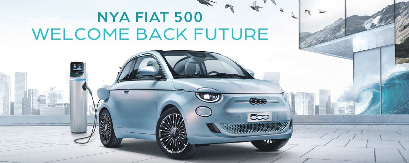 Elbil Fiat 500e ljusblå